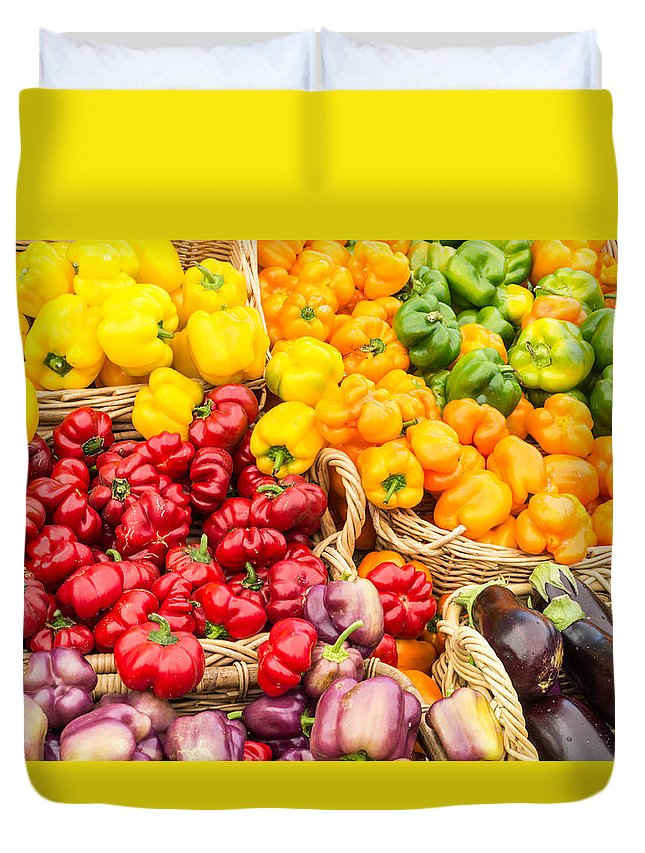 Agriculture Duvet Cover featuring the photograph Display Of Fresh Vegetables At The Market by John Trax