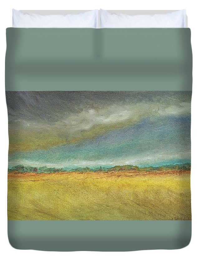 Landscape Duvet Cover featuring the painting Distant by Susan Hanna