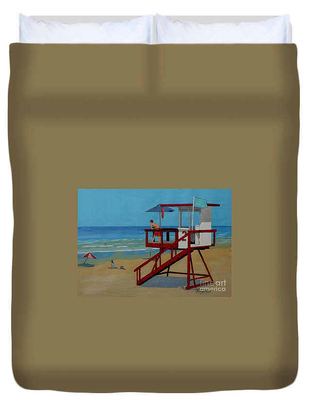Lifeguard Duvet Cover featuring the painting Distracted Lifeguard by Anthony Dunphy