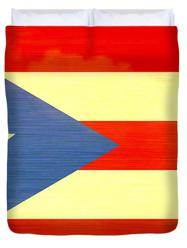 Distressed Puerto Rico Flag Duvet Cover featuring the digital art Distressed Puerto Rico Flag by Dan Sproul