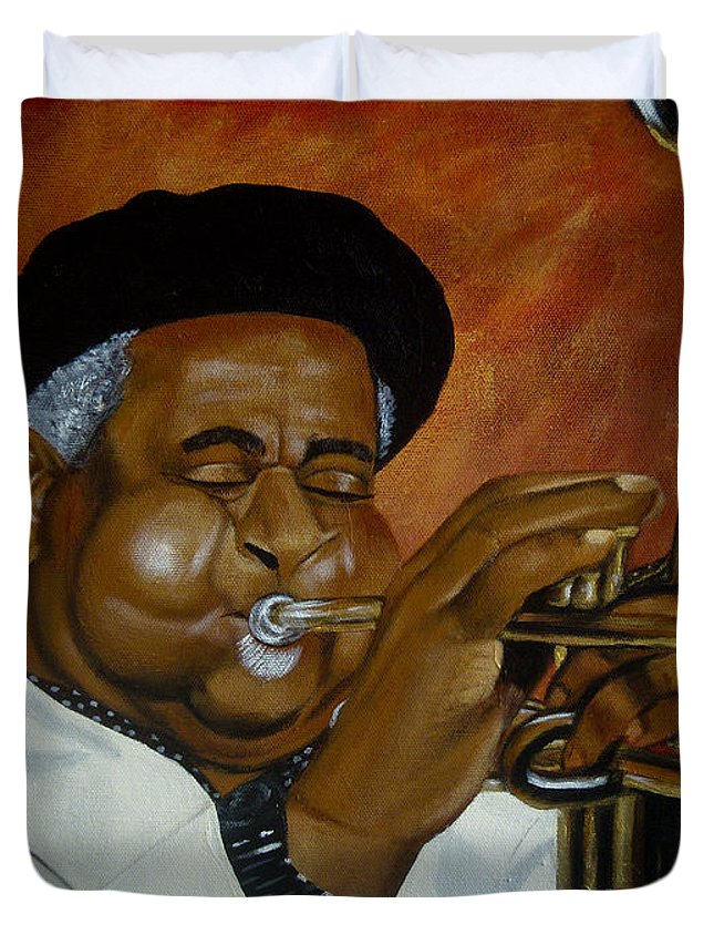 Jazz Duvet Cover featuring the painting Dizzie Gillespie In Color by Chelle Brantley