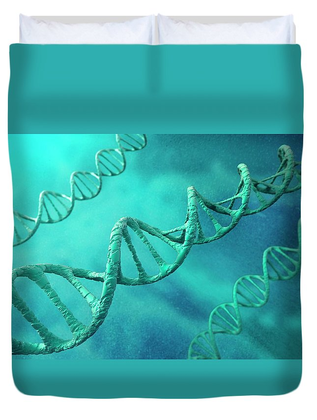 Color Image Duvet Cover featuring the digital art Dna Molecules, Artwork by Science Photo Library - Andrzej Wojcicki