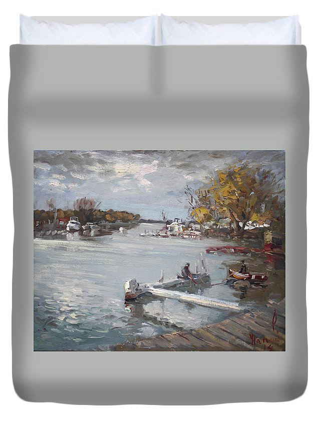 Dock Duvet Cover featuring the painting Dock At The Bay North Tonawanda by Ylli Haruni