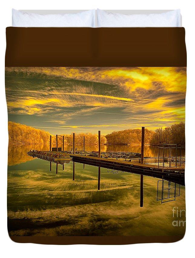 Dock Duvet Cover featuring the photograph Dock Reflections-golden by Izet Kapetanovic