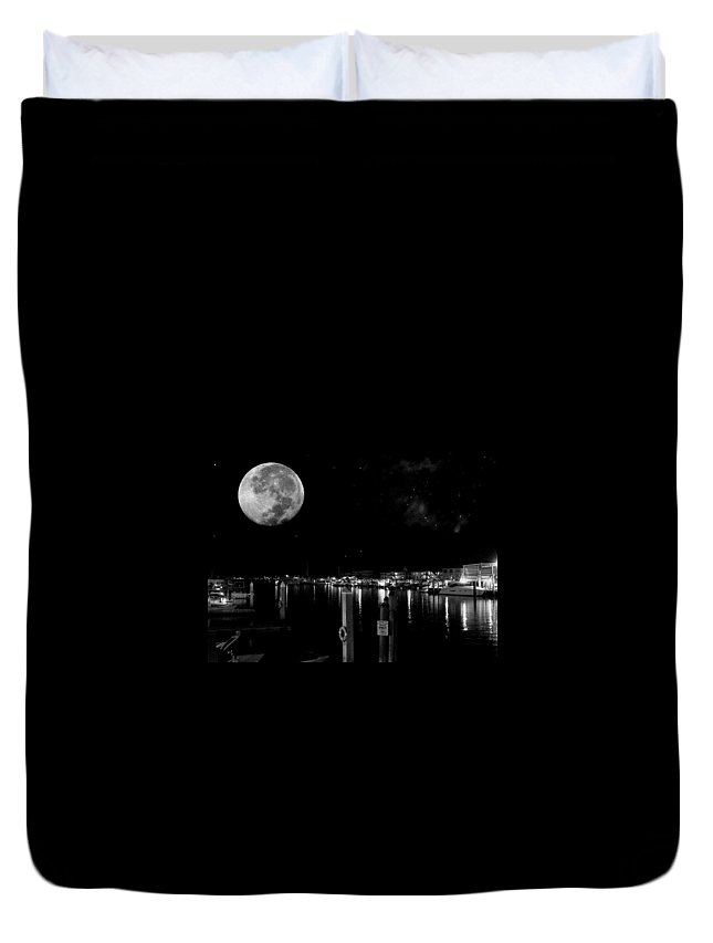 Black And White Duvet Cover featuring the photograph Dock Of The Bay by Mitch Caueffield