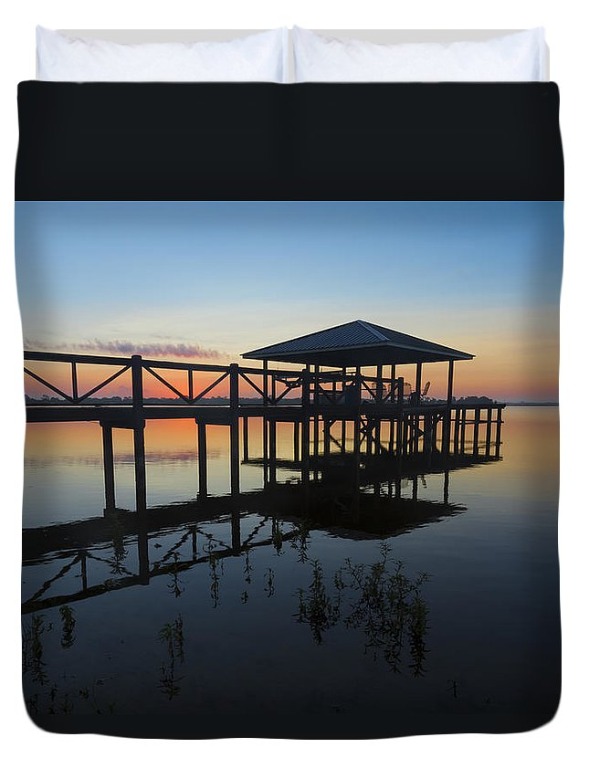 Clouds Duvet Cover featuring the photograph Dock On The Bay by Debra and Dave Vanderlaan