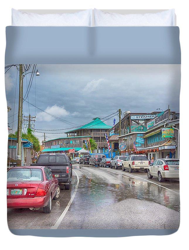Duvet Cover featuring the photograph Dock Street - Cedar Key by Howard Salmon