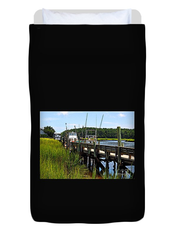 Docked At Calabash Duvet Cover featuring the photograph Docked At Calabash by Lydia Holly