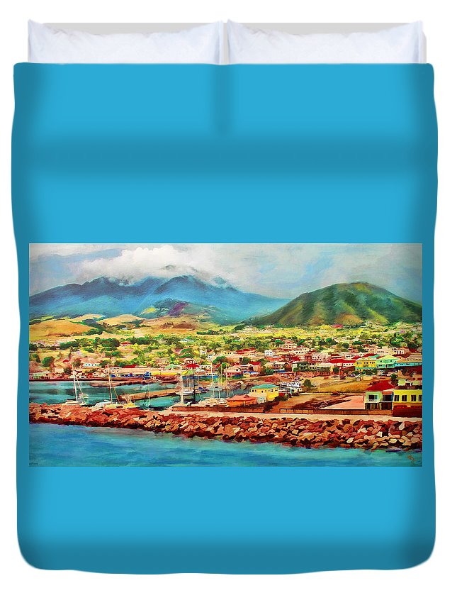 St.kitts Duvet Cover featuring the mixed media Docked In St. Kitts by Deborah Boyd