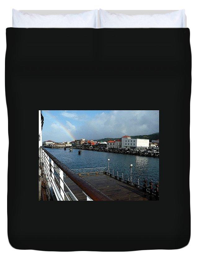 Dockside Duvet Cover featuring the photograph Dockside Rainbow by Nicki Bennett