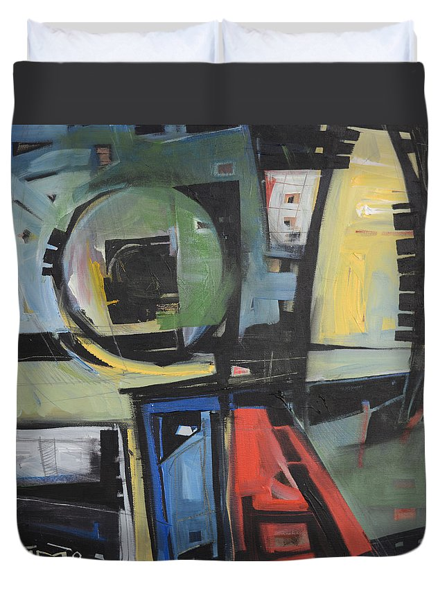 Abstract Duvet Cover featuring the painting Dockside by Tim Nyberg