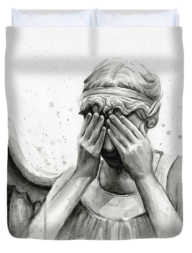 Who Duvet Cover featuring the painting Doctor Who Weeping Angel Don't Blink by Olga Shvartsur