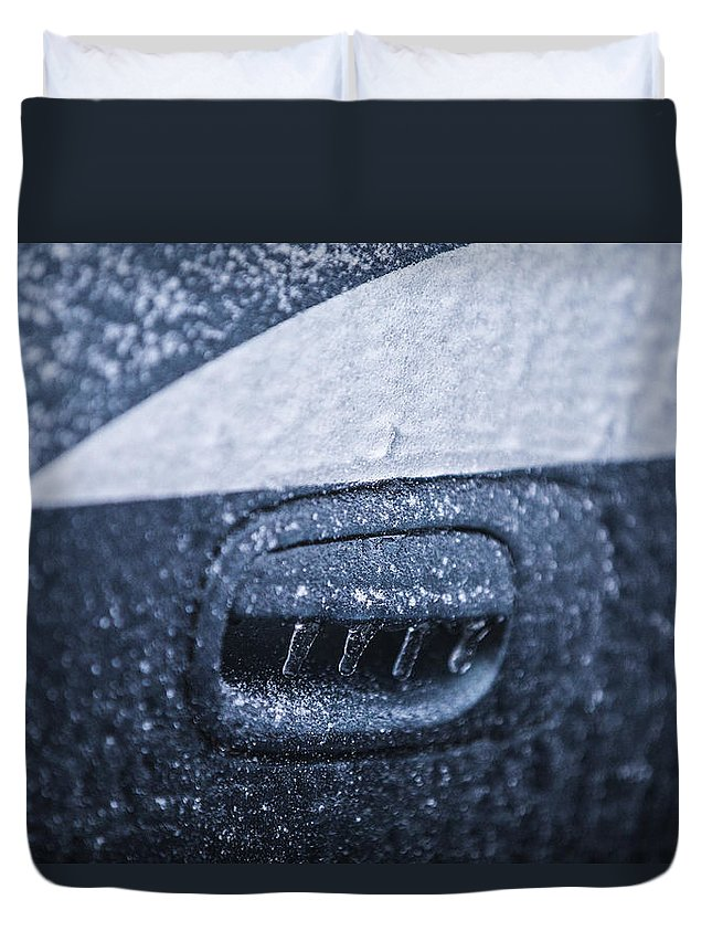 Dodge Charger Duvet Cover featuring the photograph Dodge Charger Frozen Car Handle by John McGraw