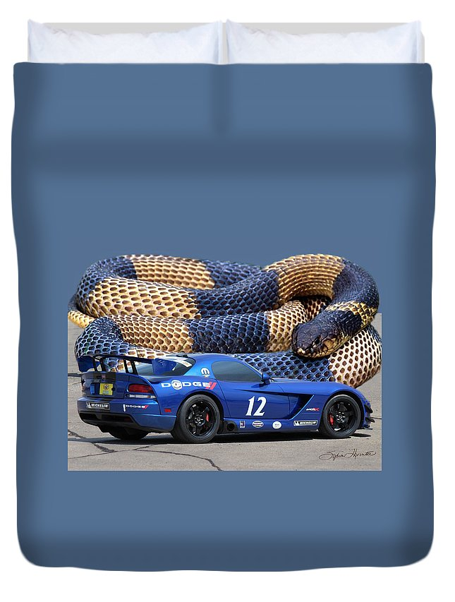 Blue Dodge Viper Duvet Cover featuring the photograph Dodge Viper by Sylvia Thornton