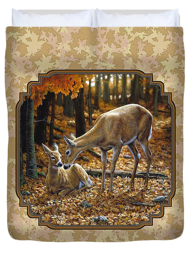 Doe And Fawn Autumn Leaves Pillow And Duvet Cover Duvet