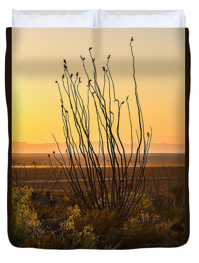 Dog Canyon Duvet Cover featuring the photograph Dog Canyon Sunset by Diana Powell