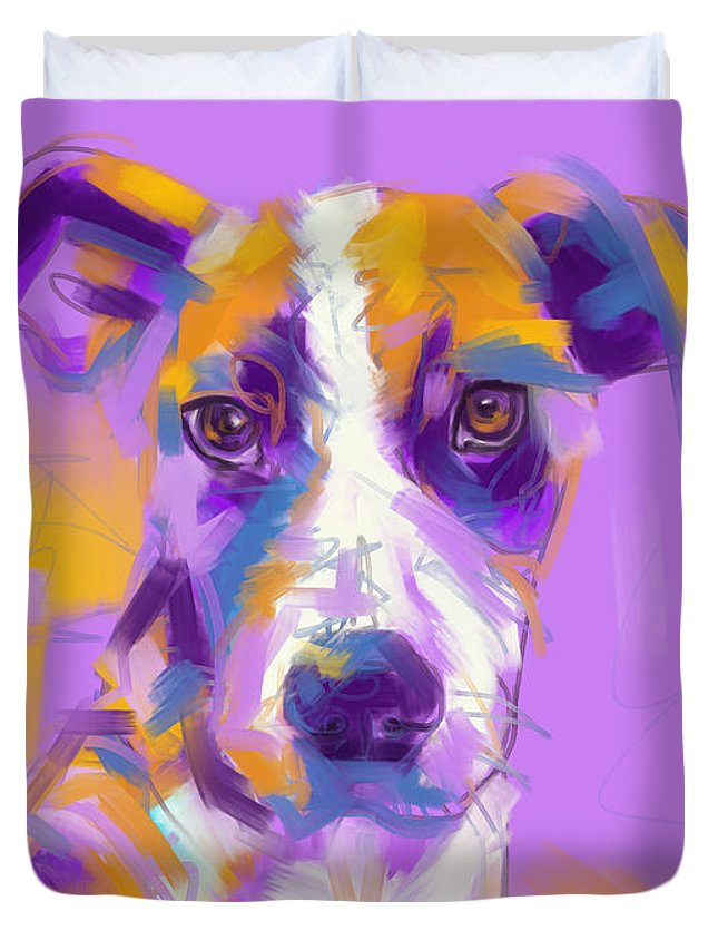 Dog Duvet Cover featuring the painting Dog Charlie by Go Van Kampen