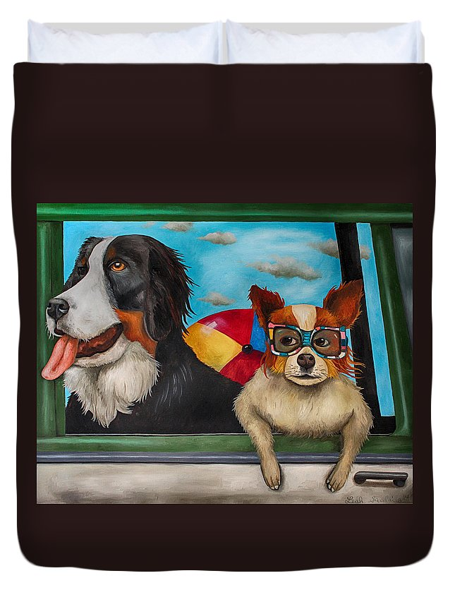 Dog Duvet Cover featuring the painting Dog Days Of Summer Edit 3 by Leah Saulnier The Painting Maniac