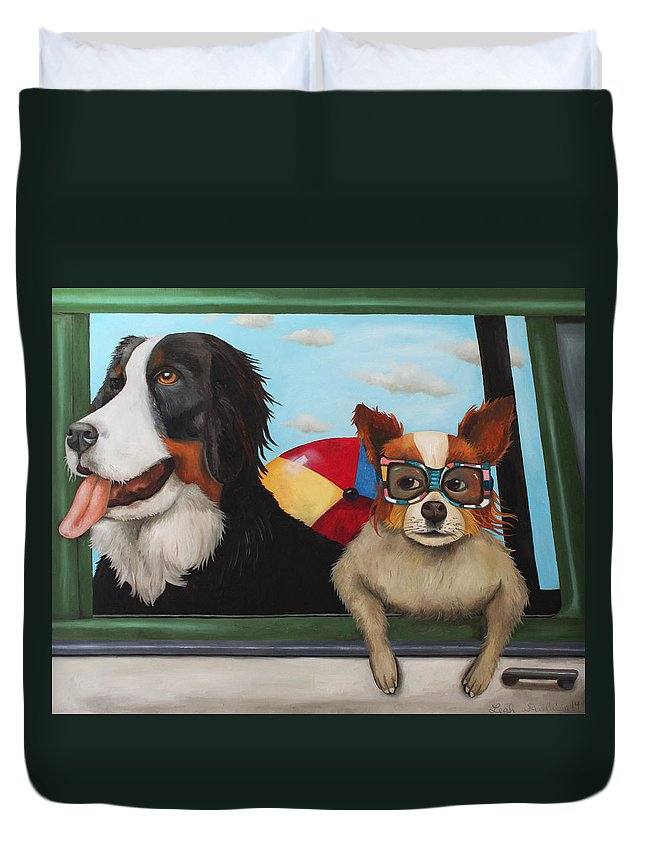 Dog Duvet Cover featuring the painting Dog Days Of Summer by Leah Saulnier The Painting Maniac