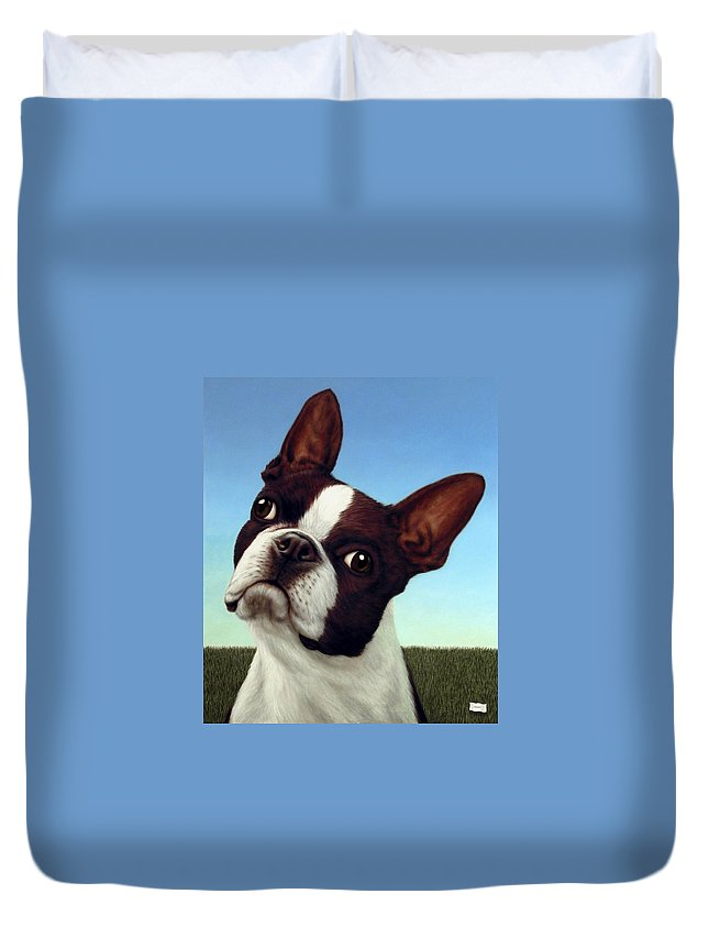 Dog Duvet Cover featuring the painting Dog-nature 4 by James W Johnson