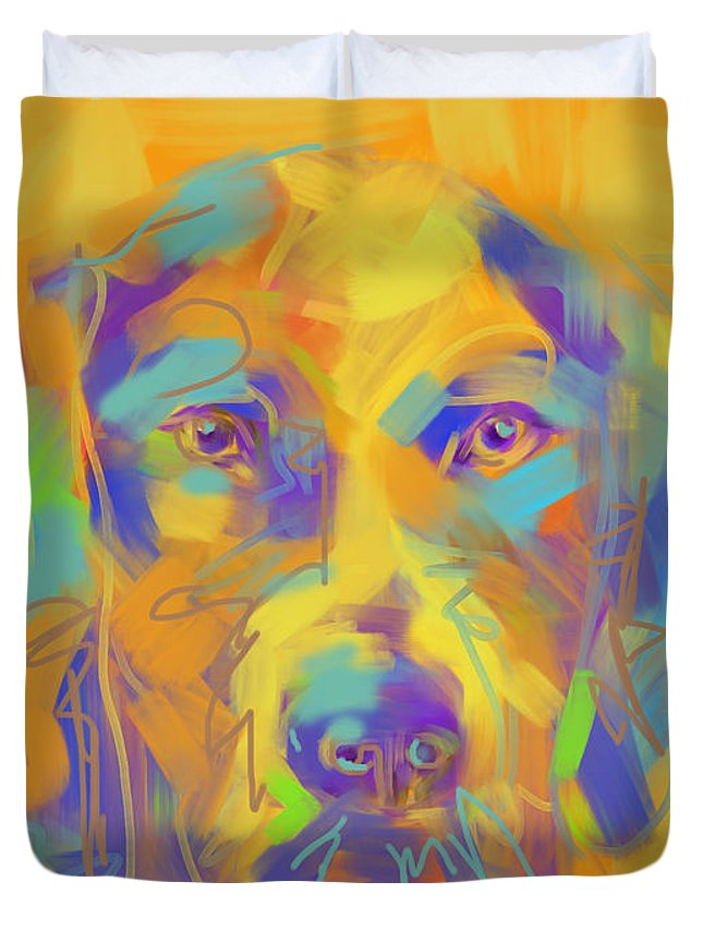 Dog Duvet Cover featuring the painting Dog Noor by Go Van Kampen