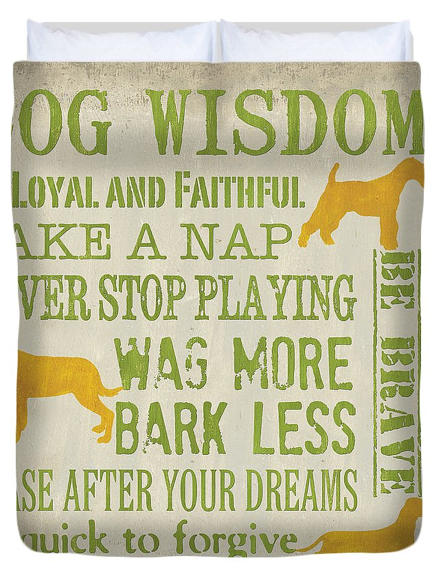 Dog Duvet Cover featuring the painting Dog Wisdom by Debbie DeWitt