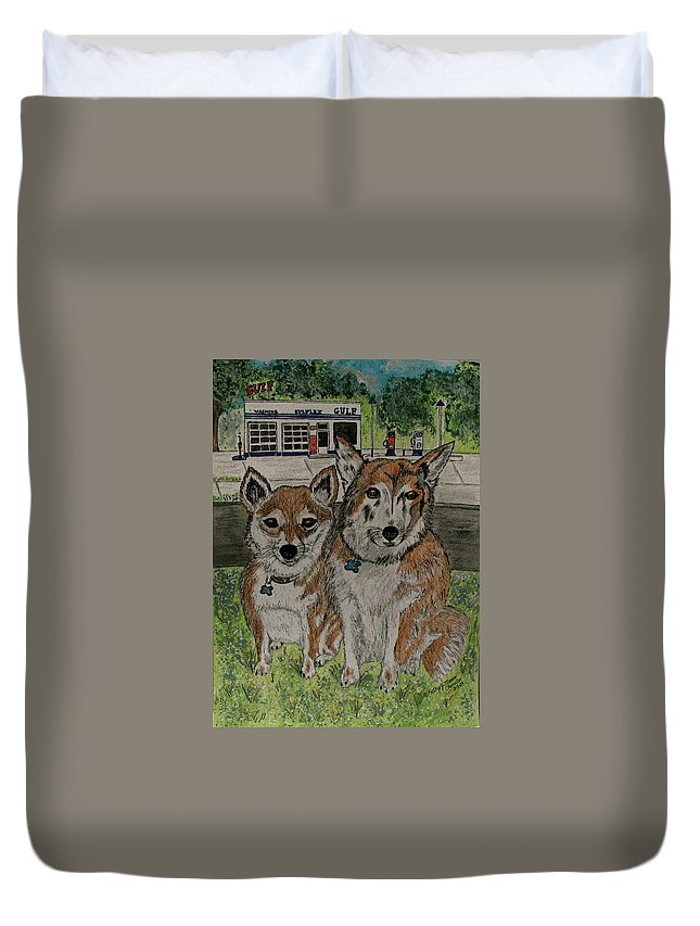 Dogs Duvet Cover featuring the painting Dogs In Front Of The Gulf Station by Kathy Marrs Chandler