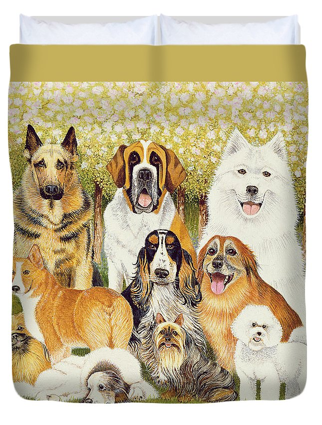 Dog Duvet Cover featuring the painting Dogs In May by Pat Scott