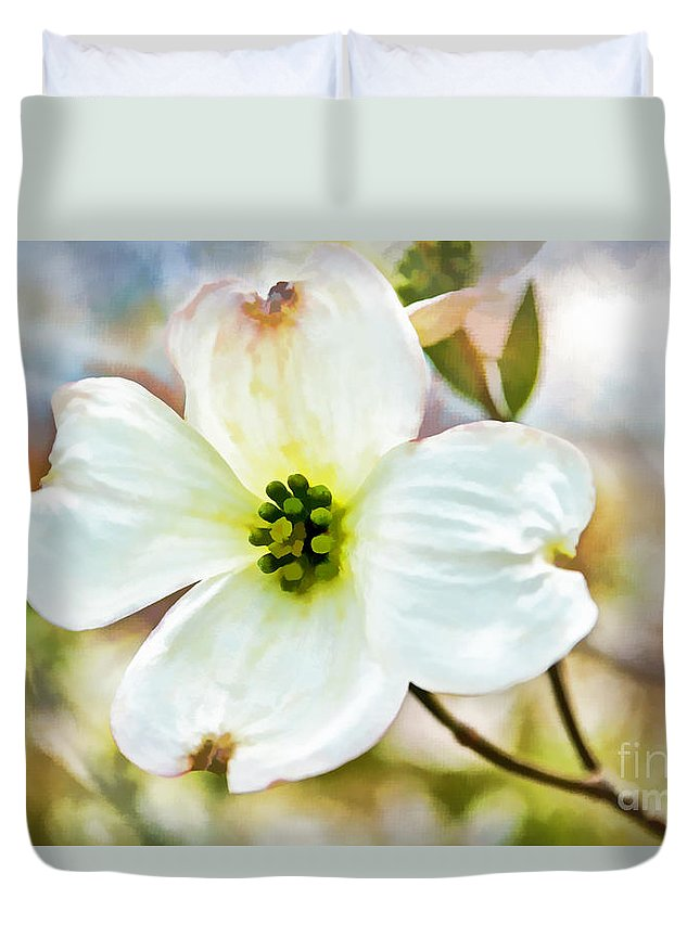 Spring Duvet Cover featuring the photograph Dogwood Blossom - Digital Paint I by Debbie Portwood