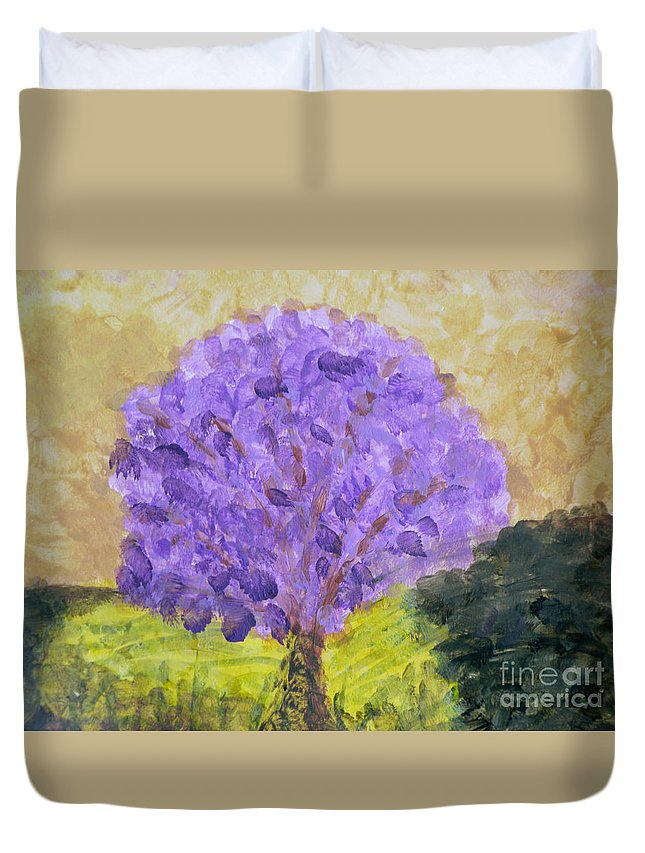 Dogwood Tree Duvet Cover featuring the painting Dogwood In Bloom by Terry Weaver