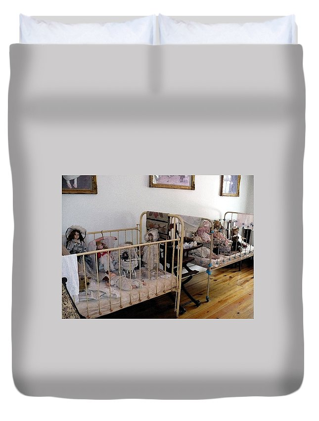 Dolls Cribs Duvet Cover featuring the photograph Doll Cribs by Nicki Bennett