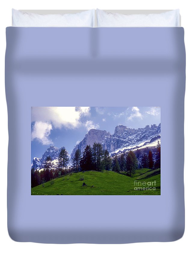 Dolomite Mountain Mountains Peaks Peak Hillside Hillsides Tree Trees Snow Cloud Clouds Landscape Landscapes South Tyrol Tyrolean Alps Italy Duvet Cover featuring the photograph Dolomites by Bob Phillips