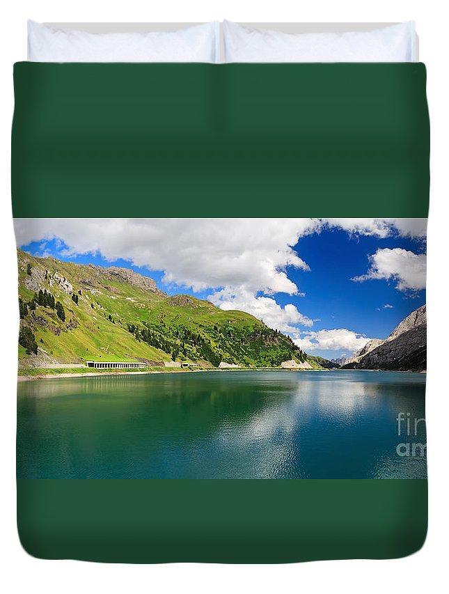 Alpine Duvet Cover featuring the photograph Dolomiti - Fedaia Lake by Antonio Scarpi