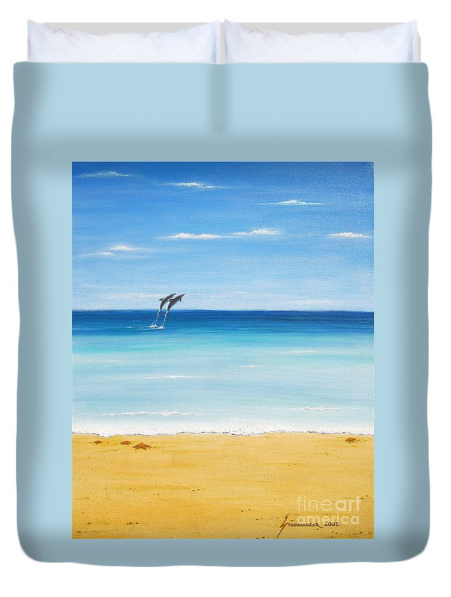 Dolphins Duvet Cover featuring the painting Dolphin Beach by Jerome Stumphauzer