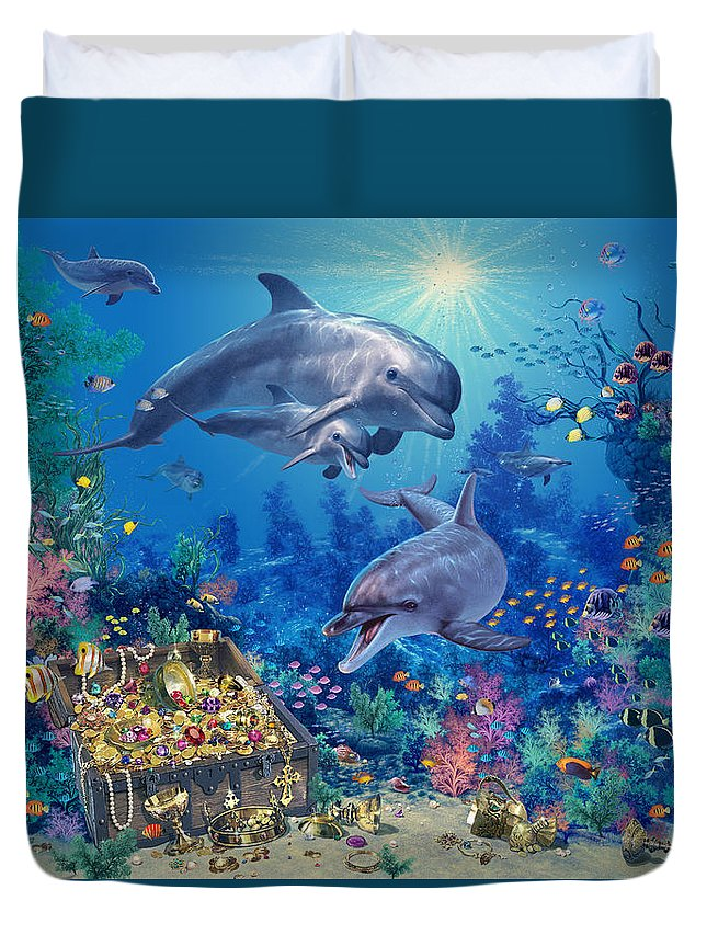 Animal Duvet Cover featuring the photograph Dolphin Family Variant by MGL Meiklejohn Graphics Licensing