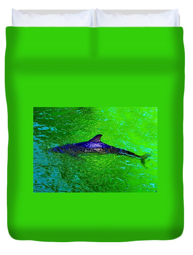 Dolphin Duvet Cover featuring the painting Dolphin In The Shallows by David Lee Thompson
