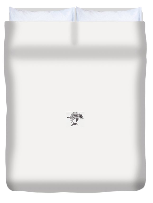 Dolphin Swimming Duvet Cover featuring the drawing Dolphin by Michael Volpicelli