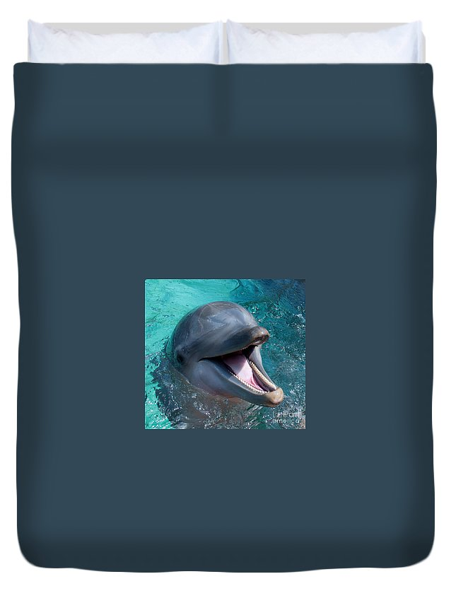 Dolphin Duvet Cover featuring the photograph Dolphin Smile by Photos By Cassandra