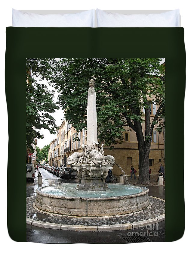 Dolphin Fountain Duvet Cover featuring the photograph Dolphinfountain - Aix En Provence by Christiane Schulze Art And Photography