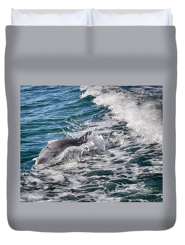 Dolphin Duvet Cover featuring the photograph Dolphins Smile by Kristina Deane