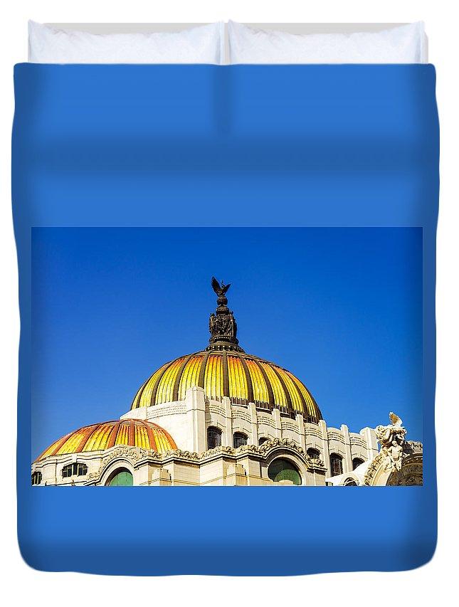 Mexico Duvet Cover featuring the photograph Dome Of Palacio De Las Bellas Artes by Jess Kraft