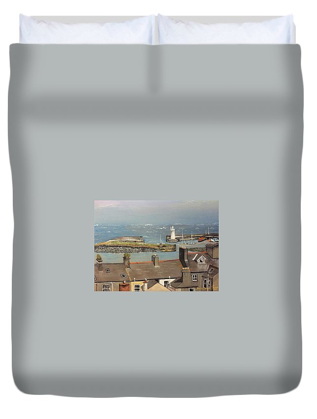 Landscape Duvet Cover featuring the painting Donaghadee Ireland Irish Sea by Brenda Brown