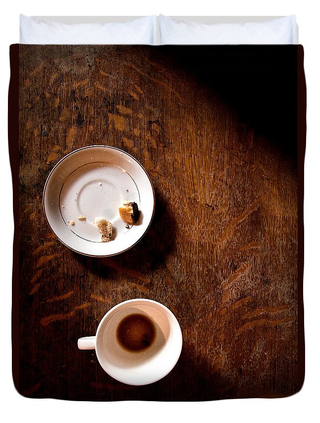 Table; Wood; Wooden; Shadows; Cup; Mug; Coffee; Empty; Drink; Drunk; Saucer; Plate; Food; Crumbs; Bread; Pastry; Pieces; Eaten; Eat; Breakfast; Brunch; Mystery; Mysterious; Foreboding; Dark; Darkness; Thriller Duvet Cover featuring the photograph Done by Margie Hurwich