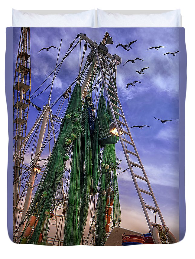 Shrimp Boat Duvet Cover featuring the photograph Done Shrimping At Tybee Island by Priscilla Burgers