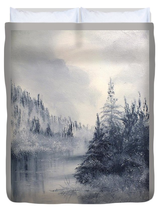 Nature Duvet Cover featuring the painting Donna's Dawn by Peggy King