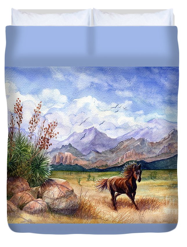 Mustang Duvet Cover featuring the painting Don't Fence Me In by Marilyn Smith