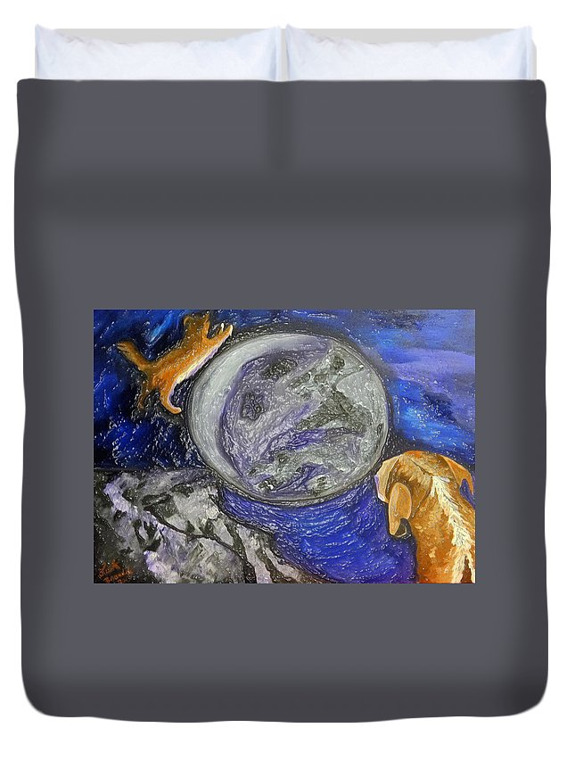 Dogs Duvet Cover featuring the painting Don't Stay On The Porch by Lisa Brandel