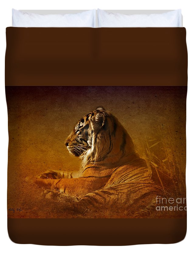 Tiger Duvet Cover featuring the photograph Don't Wake A Sleeping Tiger by Betty LaRue