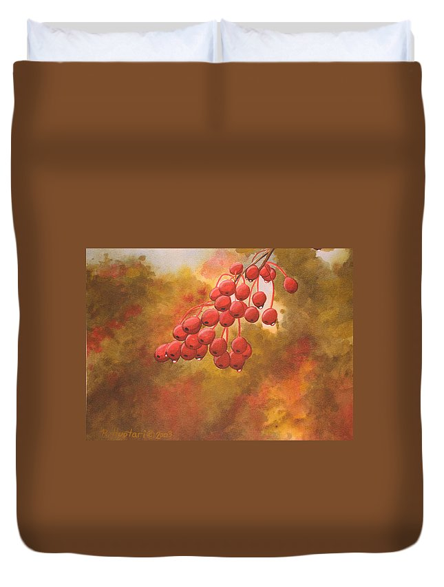 Rick Huotari Duvet Cover featuring the painting Door County Cherries by Rick Huotari