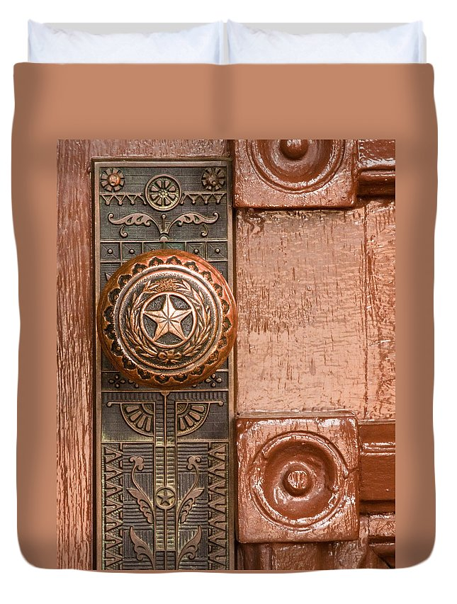 Door Duvet Cover featuring the photograph Door To Texas State Capital by David and Carol Kelly